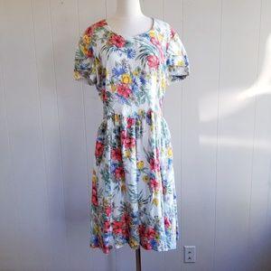 1980s Unlabeled Floral Cotton Dress